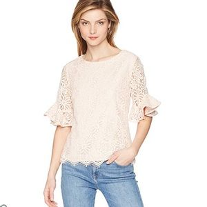 Nanette Lepore Bella Donna White Lace Bell Blouse